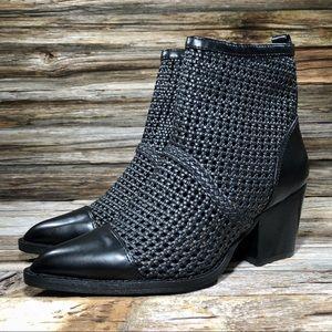 Sam Edelman Elita Woven Nappa Black Ankle Boots